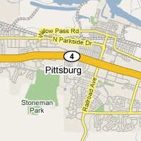 Service area map for junk removal in Pittsburg, CA