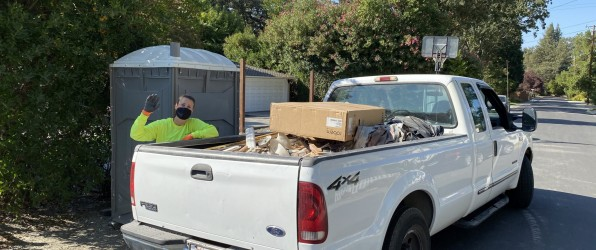 truck with junk in bed